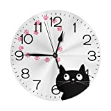 """N/W Cats in Love Wall Clock 10"""""""" Round,- Battery Operated Wall Clock Clocks for Home Decor Living Room Kitchen Bedroom Office"""
