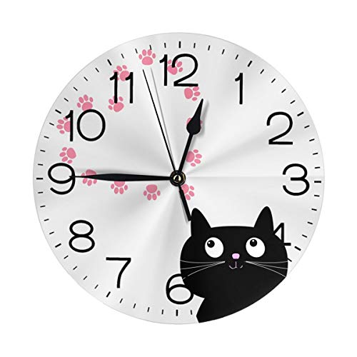 "N/W Cats in Love Wall Clock 10"""" Round,- Battery Operated Wall Clock Clocks for Home Decor Living Room Kitchen Bedroom Office"
