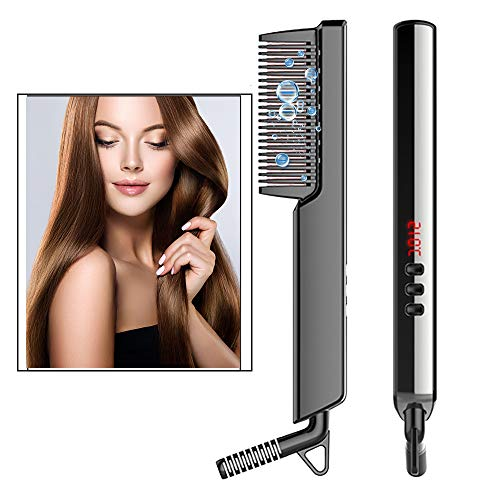 WUBUMIM Ionic Hair Straightener Brush, Hot Comb Hair Straightener with Anti-Scald for Women & Men, 30s Fast Ceramic Heating, 6 Heat Levels, Temperature Lock/Auto-off, Frizz-Free, Portable