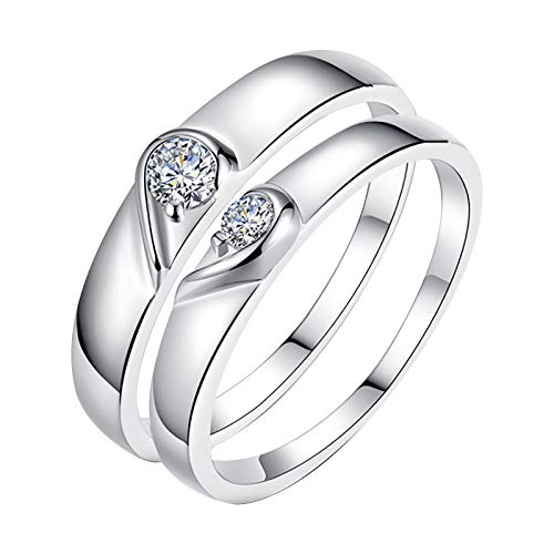 SUNFANY Rings for Couples Stainless Steel Heart Shape Adjustable Wedding Engagement Gift (A Pair)