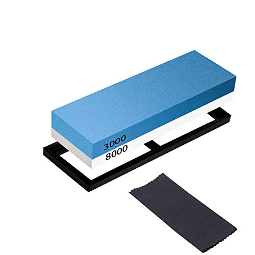 DIBALA Double-sided Sharpening Stone Set,3000/8000 Grit Professional Whetstone Knife Sharpener- Best Kitchen Knife Sharpener Waterstone For Coarse Sharpening & Fine Polishing