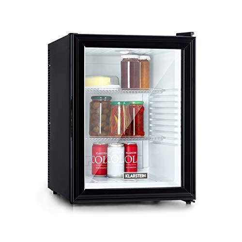 Klarstein Brooklyn 42 Mini-Kühlschrank mit Glastür, kompakt, freistehend, Thermoelektrisches Kühlsystem, 42 Liter, 12-18 °C, Auto DeFrost, EKK A, 0 dB, Innenraum: weiß, Außen: schwarz