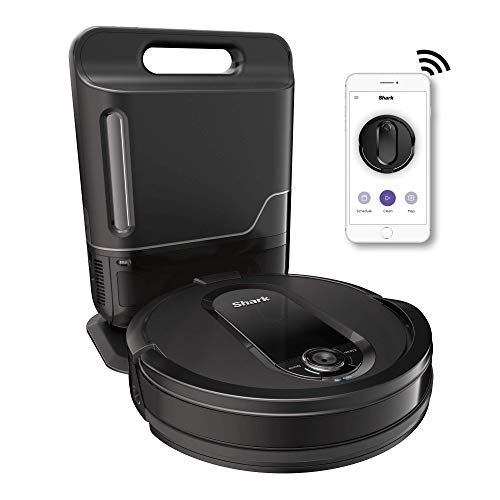 Shark IQ R101AE with Self-Empty Base, Wi-Fi Connected, Home Mapping, Works with Alexa, Ideal for Pet Hair, Carpets, Hard Floors Robot Vacuum (RV1001AE), 30 Session Capacity, Black (Renewed)