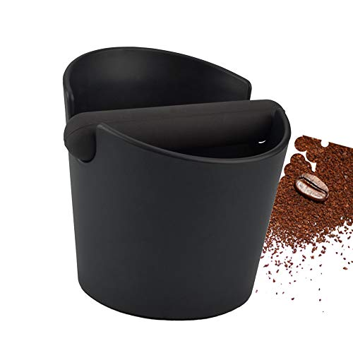Coffee Knock Box Shock-Absorbent Durable Barista Style Espresso Knock Box with Removable Knock Bar and Non-Slip Base(Round) (Black)