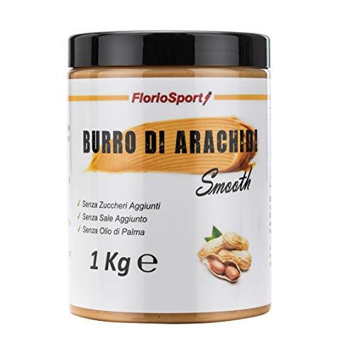 FlorioSport, Burro di Arachidi Smooth, 1000 g Burro di Arachidi Liscio 100% Naturale - Peanut Butter - Adatto per Vegetariani - Senza Zuccheri e Sale Aggiunto