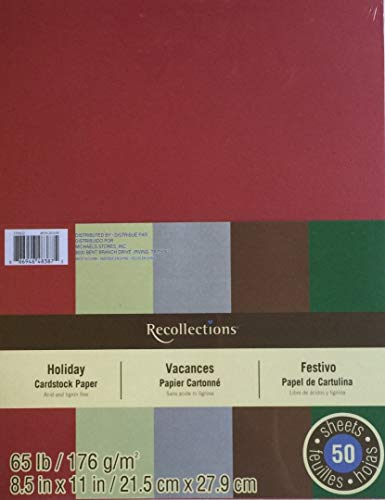 Recollections Holiday Cardstock Paper - 50 sheets 8.5 X 11