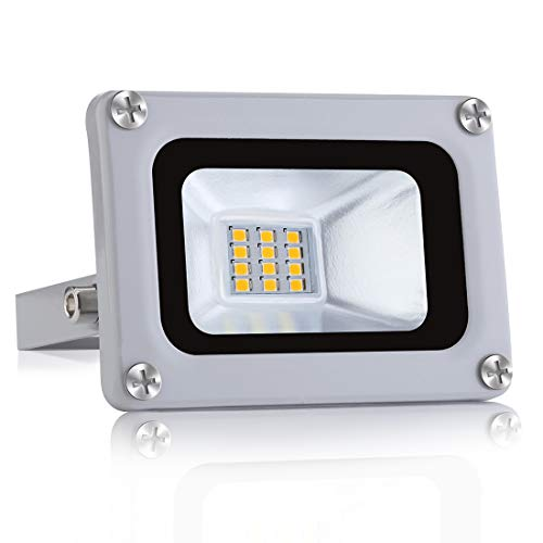 10W LED Flutlicht Floodlight Outdoor-Sicherheitsleuchte 800lm Ultradünnes LED Strahler 6500K Kaltesweiß Außenstrahler Wasserdicht IP65 für Garten Garage Sportplatz [Energieeffizienzklasse A+]