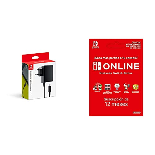 Nintendo Adaptador De Corriente + Switch Online 12 Meses Código de Descarga
