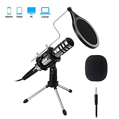 PC/Phone Microphone, EIVOTOR 3.5mm Professional Condenser Microphone Plug and Play, Recording Microphone with Mic Stand for Karaoke,Youtube, MSN, Facebook, Skype Online Chatting, Gaming, Podcasting