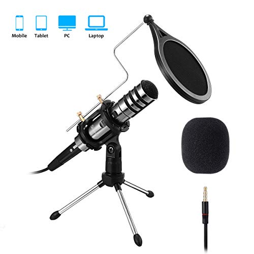 PC/Phone Microphone, EIVOTOR 3.5mm Professional Condenser Microphone Plug...