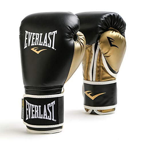 Everlast Men's Powerlock Hook/Loop Gloves, 14 oz, Black/Gold