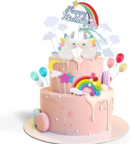 Decoración para Tarta Unicorn Cake Topper Cloud Rainbow Star Balloon Feliz Cumpleaños, Bandera Cake Topper Decoraciones de Pasteles Comestibles