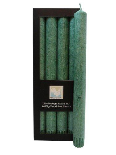 Stearin Stabkerzen, 250 x 22 mm, Dunkelgrün, 4er-Pack, Bio - Kerzen / Stearin - Leuchterkerzen