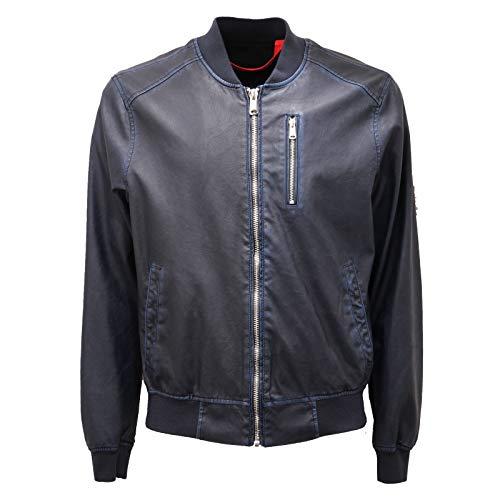 Freedom Day 2125AD Giubbotto Uomo FREEDOMDAY Blue Eco-Leather Jacket Man [3XL]