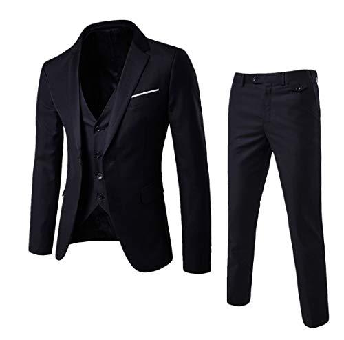 Guiran Herren Anzug Regular Fit Business Anzüge 3-Teilig Anzugjacke + Anzughose + Weste Schwarz L