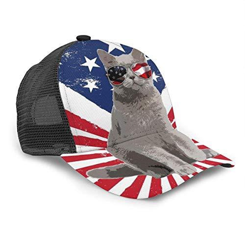 Gorra de béisbol Unisex Divertido Gato de EE. UU. Bandera Americana Gafas de Sol 3D Hip Hop Snapback Sombrero de ala Gorras Negro