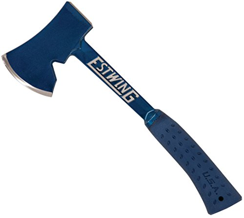 """Estwing Camper's Axe - 14"""" Hatchet with Forged Steel Construction & Shock Reduction Grip - E6-25A , Blue"""