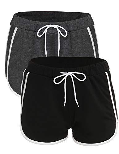 NewPI Pantaloncini Sportivi Cotone Donna Pantaloni Corti in Cotone con Coulisse per Sport, Corsa, Yoga, Jogging, Casa.