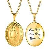 U7 Colgante de Medalla para Mujer Collar del Tono Oro con Cadena Fina Collar de Fotos Collar de Nombre Chapado en Oro 18 k