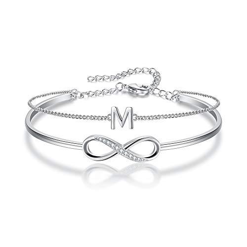 Clearine Bracelet Lettre Femme Prénom Personnalisé Double Chaînes Pendentif Zircon Amour Infini Alphabet M