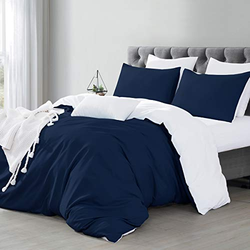 Silky Soft Microfiber Duvet Covers Set King Size - Blue & White, 3 PCS with Pillow Case Bedding Set, Non-Iron Smooth Feeling with Zipper & Corner Ties, Hypoallergenic & Breathable Quilt Cover Set
