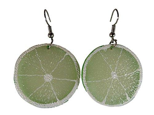 Ausgefallene verrückte Ohrringe Hänger Obst Frucht Limette Scheibe grün 5167