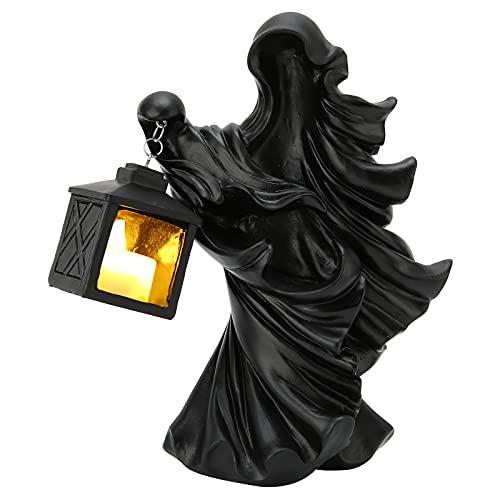 Jopwkuin Nachtlicht, Harz Hexe Skulptur Statue Laterne Halloween Ornament + LED Laterne Umweltschutz für Halloween/Partys/Hochzeitsdekorationen(Schwarz)
