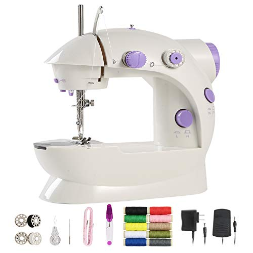 Enjoylf Mini Sewing Machine for Beginner Kid, upgraded 2-Speed 2-Thread Portable Sewing Machine with Lamp Cutter and Foot Pedal
