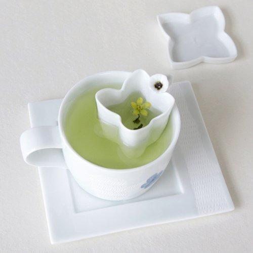 Porcelaine Blanche Collection PETALE DE FLEUR Tasse + Infuseur avec soucoupe