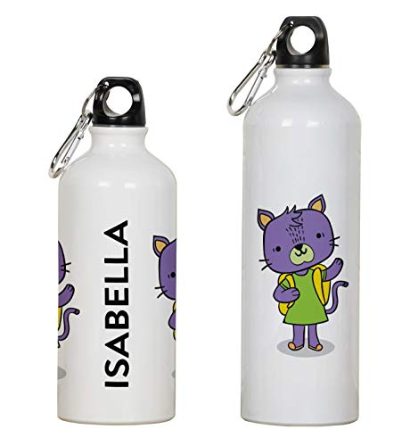 Printtoo Botella De Agua Personalizada para Niños Impresión del Gato Botella Deportiva De Aluminio con Clip De Mosquetón 750ml/25.3oz