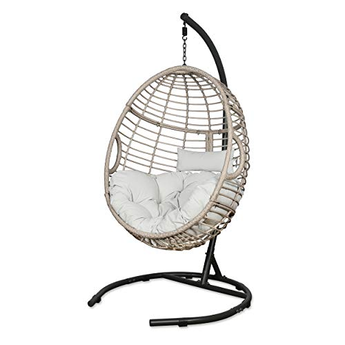 Iwicker Outdoor Rattan Egg Hanging Swing Chair with Cushions and Stand (Beige)