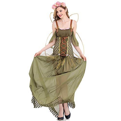 CAGYMJ Bosque Duende Dress Party Ropa De Mujer,Cosplay Hada Flor Verde Skirt Disfraz Dramtico,Adecuado para Halloween Oktoberfest Actuaciones Fiestas Falda,M
