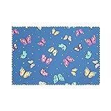 Tcerlcir Set di 6 Tovagliette Farfalla e Farfalle a Pois sull'azzurro Lavabile Antiscivolo Resistente al Calore per la Cucina e la tavola 45x30cm
