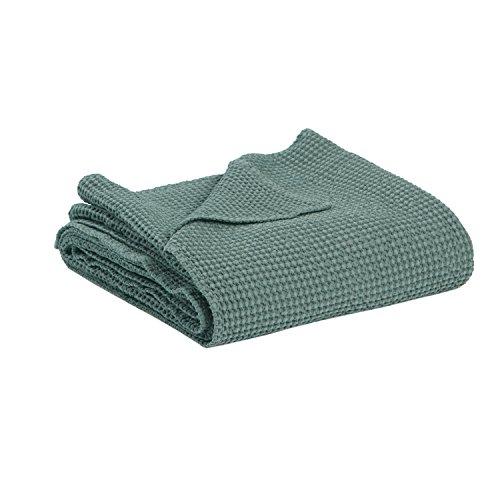 Vivaraise Jeté de lit 240/260 Maia 100% Coton Vert Gris