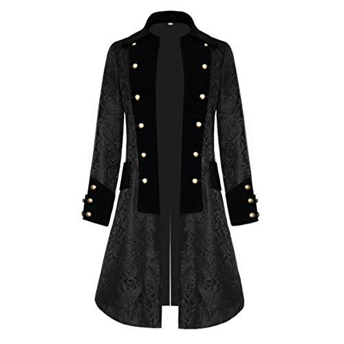 COCD Uomo Cappotto, Steampunk Vintage Camicia Manica Lunga Collo Alto Colletto Giacca Gotico Vittoriano Giacce Medievale Costume