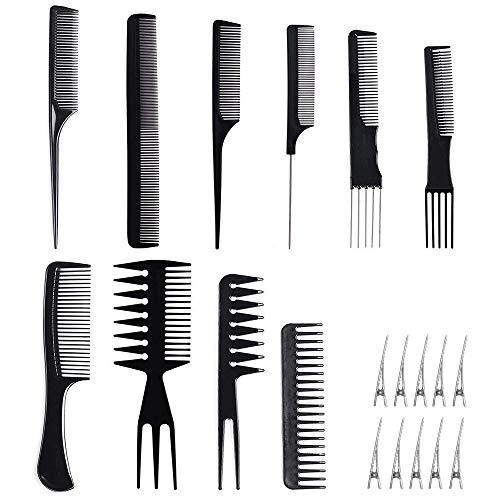 Juego de 10 peines/cepillos profesionales con 10 clips, con cola fina, dientes anchos a sección, accesorios de entrenamiento de peluquería Tbestmax
