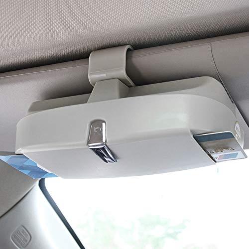 MOPOIN - Funda para gafas de sol de coche, universal, soporte de almacenamiento con magnético y tarjetero, soporte multifunción para gafas de sol de coche, funda organizadora para visera solar (gris)