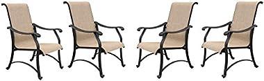 4 Patio Sling Arm Chair Set Furniture Outdoor Dining Backyard Garden Cast Aluminum All Weather