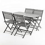 Edenjardi Conjunto para Exterior, Mesa Plegable 120 cm y 4 sillas Plegables, Aluminio Antracita, Textilene Color Plata y Negro, 4 plazas