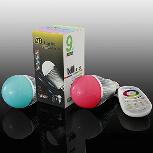 Lighteu, 2 x WiFi Lampe LED Milight original®, 9W, E27 à intensité variable, ampoule LED colorée RGB avec télécommande 4 zones, blanc chaud [Classe énergétique A+]