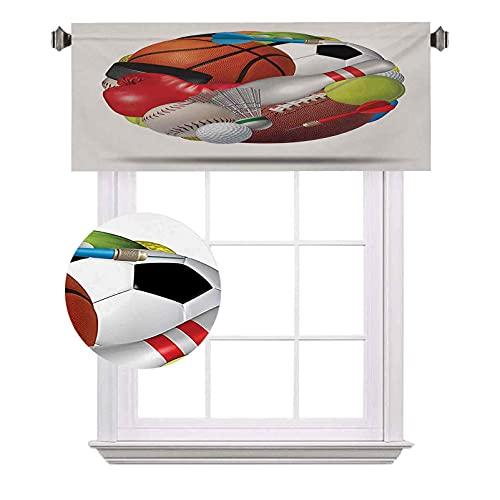 Cenefas de bolsillo para caña de fútbol, combinadas con otros equipos deportivos universales para hockey y boxeo, impermeables y lavables, para ventanas pequeñas, 42 x 18 pulgadas, multicolor
