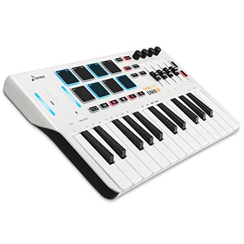 MIDI Keyboard Controller DMK25, Donner Professional 25 Tasten Mini USB Synthesizer Beatpad mit 8 hintergrundbeleuchteten Drum Pads, 4 Knöpfen und 4 Reglern, Weiß