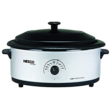Nesco 4816-47 Roaster Oven with Porcelain Cookwell, 6-Quart, Silver/Black
