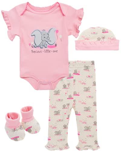 Disney Conjunto de 4 piezas para nias de beb  Bodysuit, pantalones babero y botines: Minnie, Pooh Bear, Dumbo - - 6-9 meses