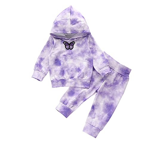 Carolilly - Sudadera de manga larga con capucha y diseño de dibujos animados para bebé y niña, con coloración de batik y bordado de mariposas y pantalones, 2 unidades morado 2-3 años