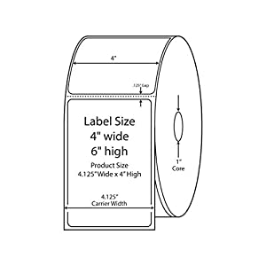 800540-605 Compatible KENCO® Brand 4 inch x 6 inch with perf Direct Thermal Labels to fit Eltron or Zebra Printers. 1 in. Core, 250 Labels Per Roll, 12 Rolls Per Case
