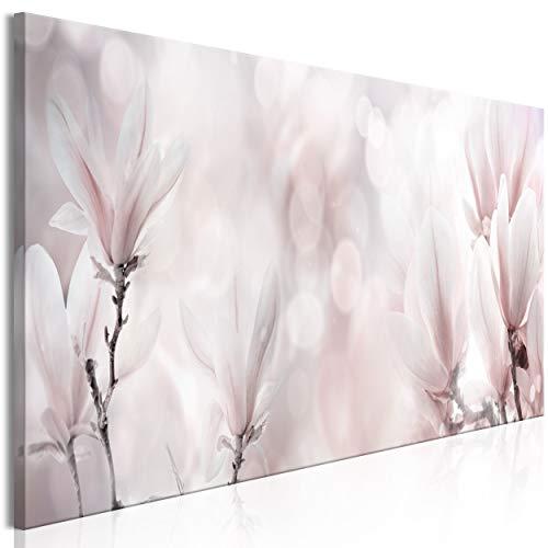 decomonkey Bilder Blumen Magnolie 120x40 cm 1 Teilig Leinwandbilder Bild auf Leinwand Vlies Wandbild Kunstdruck Wanddeko Wand Wohnzimmer Wanddekoration Deko Natur