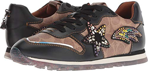 COACH C118 Runner with Signature Coated Canvas and Shooting Star Tan/Black 6.5