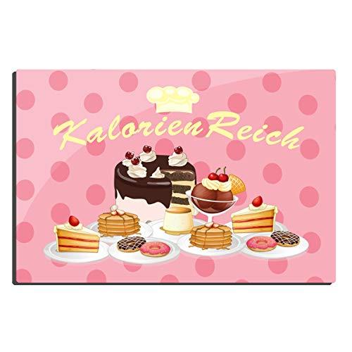 TRIOSK Blechschild Kuchen lustig mit Spruch Kalorien Reich 20x30 cm Metallschild Kaffee Küche Sprüche Geschenk Dekoschild Torte Cupcake Schild Vintage Rosa