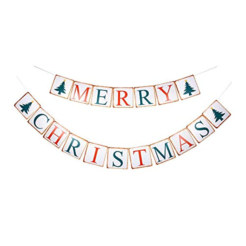 Merry Christmas Banner, Vintage Christmas Party Paper Sign with Tree Christmas Garland Photoprops
